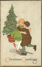 Art Deco Christmas - Kids Dance in Front of Tree c1910 Postcard rpx