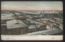 POSTCARD RICHMOND VA/VIRGINIA JAMES RIVER WAREHOUSE ARE BIRD'S EYE AERIAL 1905