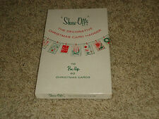 "Vintage Christmas ""Show-Offs"" decorative card hangers set clothespins box RED"