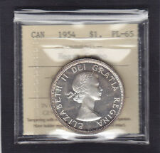 1954 Canadian Silver Dollar ICCS graded PL-65 HEAVY CAMEO