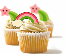 ✿ 24 Edible Rice Paper Cup Cake Toppings, Cake decs - Star and Rainbow ✿