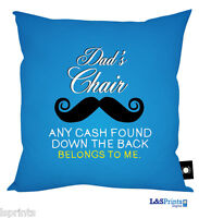 DADS CHAIR MOUSTACHE DESIGN CUSHION GREAT FATHERS DAY GIFT DAD BIRTHDAY PRESENT