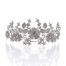 Floral Bridal Veil Hair Accessory Tiara Rhinestone Wedding Prom Crown Headpiece