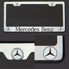 Mercedes Benz Black Laser Engraved Polish Stainless Steel License Plate Frame