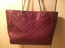 Tory Burch Quilted Chain Slouch Shoulder Tote-Red Agate