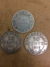 Lot of 3 Newfoundland 50 Cents, Victoria, Edward VII, George V