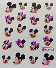 Nail Art Glitzy Mickey & Minnie Purple Bows Girl Nail Water Decal Sticker 490