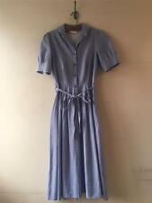 Vintage 1940s/50s/70s Laura Ashley Impresión Azul Marino Vestido shirtwaister UK 8 10