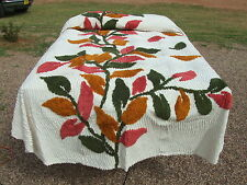Chenille King Bedspread 100% Cotton Autumn Colors Gold & Brick Leaf Design New