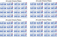 ONTARIO CANADA LICENSE PLATE DECALS FOR 1:26 SCALE CARS