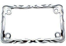 "Chrome ""Flame"" License Plate  Frame For Most Motorcycle Tag Number Bracket"