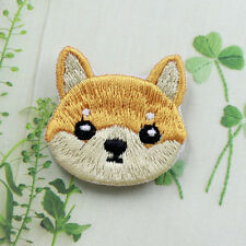 Cute Dog Shiba Patch Embroidered Face Iron On Sew On Patches