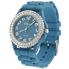 Geneva Platinum CZ Accented Silicon Blue Watch, Large Face