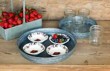French Country Farmhouse Rustic Galvanized Metal Tray~ Set of Two