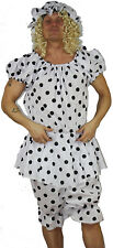 Black Dot Panto Dame Ugly Sisters Beach Wear Fancy Dress Costume Pantomime