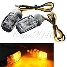 Paire Mini 12V 6LED Clignotant Indicateur Feu Ampoule Chrome Lumière Jaune Moto