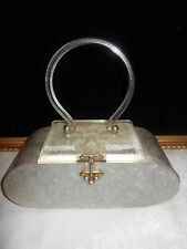 Vintage 60s Carved Lucite & Silver Pearl Plastic Box Purse