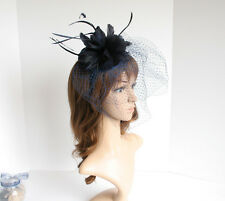 2015 Church Derby Wedding Sinamay Feather & Veil Fascinator Cocktail Navy 533