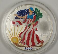 2000 American Silver Eagle (ASE) 999 UNC Beautifully Colorized Coin on Obverse