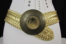 """New Women Gold Braided Waist Hip Moroccan Fashion Belt Big Round Buckle 30-34"""" M"""