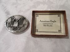 "Vintage 1981 Bergamot Brass ""Proud to be an American Eagle"" Belt Buckle # H-132"
