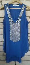 Nordstrom CHLOE K Sheer Blue Tank Top Shirt Gold & Silver Embellishments Size M
