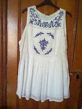 BNWT, Ladies white sleeveless dress, with blue embroidery, size 22, from Tu
