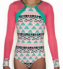 Girls Gymnastics Multi-Coloured  pink mesh long sleeves Leotard size 30 age 9 10