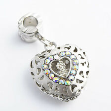 Womens openwork White Gold filled Multi-color Crystal Heart Charm Pendant