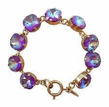 CATHERINE POPESCO 12mm Ultra Purple Swarovski Crystal Gold Bracelet 7.5""