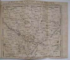 1758 MAP OF COUNTRY AROUND DRESDEN GERMANY TOWNS FORTRESSES GENTLEMANS MAGAZINE