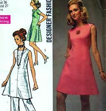 "DESIGNER Vintage 70s DRESS & PANTS Sewing Pattern Bust 36"" Size 12 RETRO Evening"