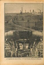 Panorama des Usines de Briey Meurthe-et-Moselle Haut Fourneau  1919 ILLUSTRATION