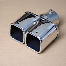 ST  Car Square Dual Slant Exhaust Muffler Tail Pipe Tip Silencer Inlet 46 - 62mm