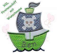 XXL Piratenschiff mit Name Aufnäher Bügelbild schiff boot skull patch grün grau