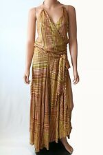 Haute Hippie Multicolor Gold Print V-neckline Open Back Dress With Belt Size S