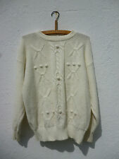 Vintage 1980s Slouchy White Cable Stitch Bobble Jumper Sweater Oversized Grunge