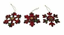 Gisela Graham Tartan Snowflake Tree Decorations - Christmas Tree Decorations