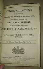 1852 SERVICE AND ANTHEMS FOR THE FUNERAL OF THE DUKE OF WELLINGTON HC Free S/H