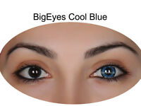 Farbige Big Eyes Kontaktlinsen mit Stärke Cool Blue / Dolly Black