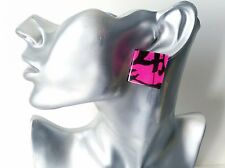 Gorgeous large hot pink & black patterned square flat acrylic stud earrings  NEW