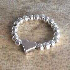 Silver Ball Beaded Heart Stretch Ring  ~ FREE P&P