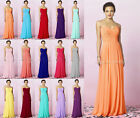Long Chiffon Formal Evening Prom Party Ball Gown Bridesmaid Dress Size 6 - 16