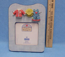 """4"""" x 4"""" Picture Frame Susan Winget Burnes of Boston Denim Clothes on Line Drying"""