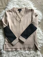 J. Crew Cashmere Blend Sweater w/ Leather Sleeve Patches, Small V Neck Career