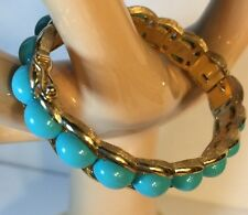 ESTATE  BRACELET 1960's Clamper Hinged Gold Tone Faux Turquoise Safety clasp
