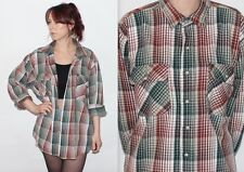 Vintage 90's Cream Brown Green CHECK OVERSIZED Button Up GRUNGE FLANNEL Shirt XL