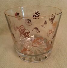 Warner Brothers, Looney Toons, Glass Ice Bucket, Gold Cartoon Faces & Rim ©1994