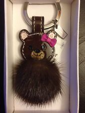 NWT COACH RARE Mink Fur Teddy Bear Key Chain w/ Leather Bow Key Ring / Key Fob