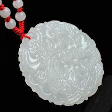 Magnifique Pendentif Dragon-Phénix en Jade Blanc Translucide